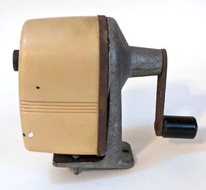 Vintage Apsco Midget Pencil Sharpener Retro Beige Wall Or Desk Mount Made Usa