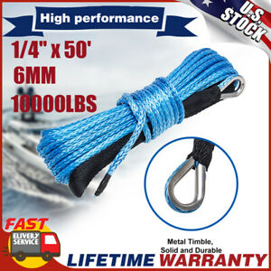 10000lbs 1 4 X 50 Capacity Synthetic Winch Rope Line Cable For Atv Utv W Sheat