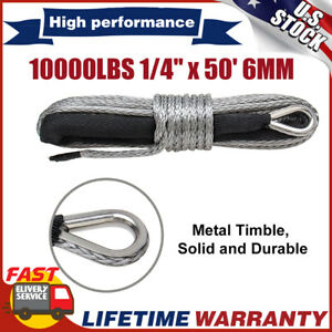 10000lbs 1 4 X 50 Synthetic Winch Rope Line Cable Capacity Atv Utv With Sheath