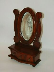 Antique Wood Table Top Beveled Mirror Vanity Dresser Jewelry With Drawers