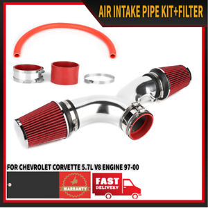1997 2000 Red Air Intake System Dual Twin Filter For Chevy Corvette 5 7l V8
