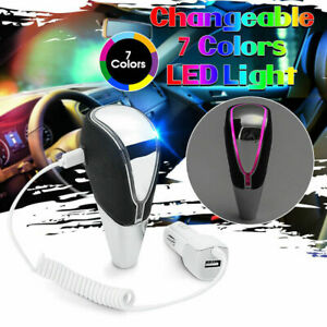 Universal Touch Motion Activated 7 Color Led Light Shift Knob Shifter Gear Us