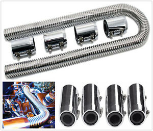 47 Flexible Upper Lower Radiator Coolant Hose Stainless Steel Chrome Caps Kit