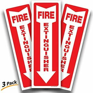Fire Extinguisher Signs Stickers 3 Pack 4x12 Inch Premium Self adhesive Vinyl