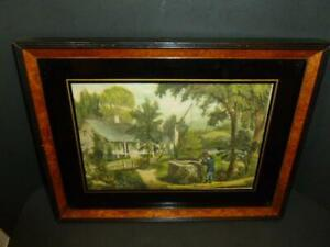 Vintage Printed Linen Homestead Painted Wood Frame Reverse Glass 10x13