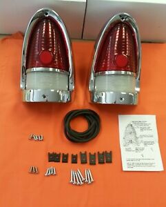 1955 Chevy Taillight Housing Assembly Pair Complete Belair Sedan Wagon Hardtop