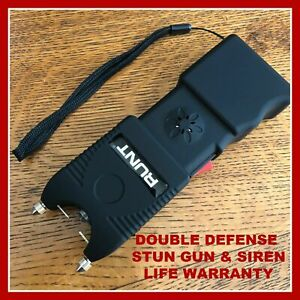 Runt 850 Bv Stun Gun With Siren Alarm Rechargeable Led Flashlight Double Defense