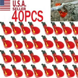 40pcs Poultry Water Drinking Cups Chicken Hen Plastic Automatic Drinker Us
