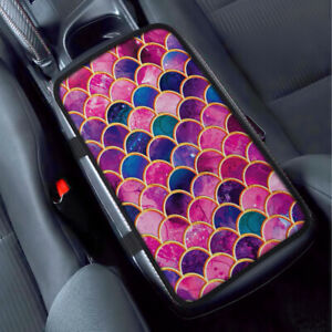 Pink Mermaid Scales Car Universal Armrest Pad Center Console Cushion Mat Cover