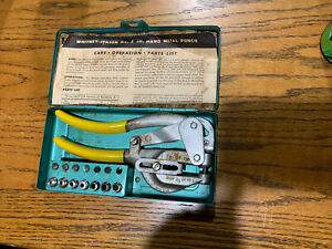 Whitney jensen Punch No 5 Jr Metal Hand Hole Punching Tool Original Case manual