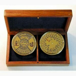 Perpetual Calendar And Weltanzeiger Made Of Brass In Wooden Box