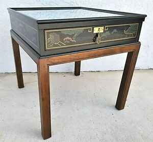 Chinoiserie Asian Style Drexel Wood Side End Table With Glass Top