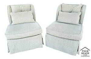 Pair Of Henredon Upholstery Collection Swivel Winged Slipper Lounge Chairs