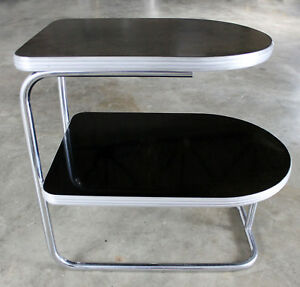 On Sale Deco Machine Age Streamline Moderne Chrome Black Two Tiered End Table