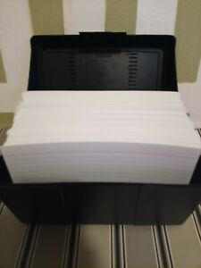 Approx 450 Count Ruled 5 X 8 Index Cards With Hinged lid Black Plastic Holder