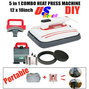 Us 12 X 10inch Portable Iron T shirt Heat Press Transfer Printing Machine 5 In 1