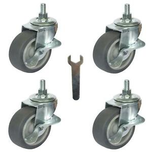 Caster Wheels Casters Set Of 4 3 Rubber Heavy Duty Threaded Stem Mount Industri