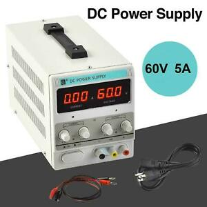 Digital Dc Power Supply 60v 5a Variable Regulated Adjustable Lab Grade W Cable