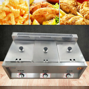 3 Pan Commercial Gas Heating Deep Fryer Countertop Gas Fry Pot Stainless Steel