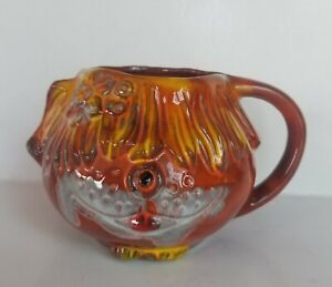 Pacific Stoneware Mug Cup Orange Shaggy Dog Flower Signed B Welsh