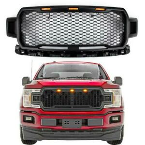 For 2018 2020 Ford F 150 Raptor Style Front Upper Bumper Grille W Led Lights