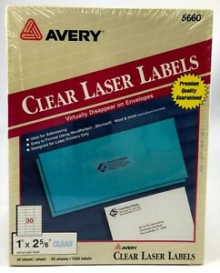 Avery 5600 1500 Easy Peel Clear Mailing Address Labels 1 X 2 5 8 50 Sheets