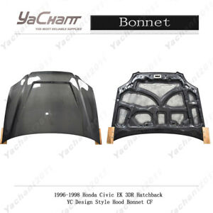 Carbon Front Hood Bonnet For 96 98 Honda Civic Ek 3dr Hatchback Yc Design Cover