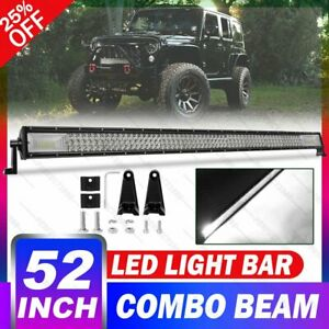 Tri Row 52 Inch Led Light Bar 900w Combo Offroad Suv Tractor Atv Driving 52