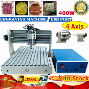 4 Axis Usb 3040 Cnc Router Engraver Pcb Wood Engraving Milling Machine Kit 400w