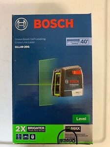 New Bosch Green beam Self leveling Cross line Laser Gll40 20g 2x Brighter