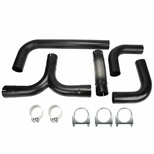 4 Universal Stainless Steel T Pipe Kit Dual Smoker Exhaust Stack System Black