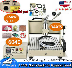 Vfd 3 Axis Cnc 6040z Dsp Router Engraving Miller Machine Wood Cutting Ball Screw