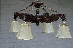 Antique French Gothic Castle 4 Arms Dragon Figural Chandelier Lamp