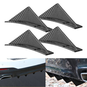 4pc Car Look Rear Bumper Lip Diffuser Shark Fins Splitter Carbon Fiber Universal