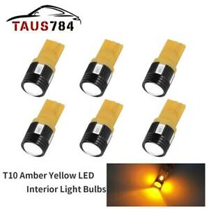 6x Amber Yellow T10 5630 Smd Wedge Led Dome License Plate Lights Bulbs 168 2825
