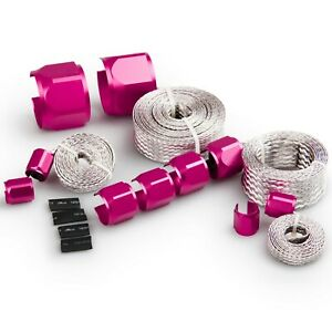Braided Stainless Hose Wire Sleeve Cover Kit Red Aluminium Clamp Covers