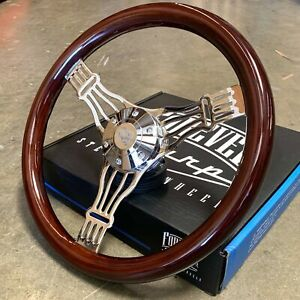 15 Chrome Banjo Steering Wheel Dark Wood Truck Chevy Gmc Nova C10 6 Hole
