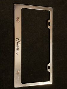 Cadillac Logo Chrome Metal License Plate Frame Holder