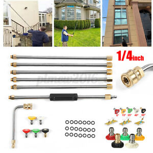 7x High Pressure Washer Extension Spray Wand Lance 1 4 With 5pcs Spray Nozzles