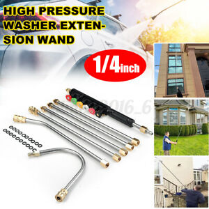 7pcs 1 4 High Pressure Washer Extension Spray Rod Lance Wand U type W O ring