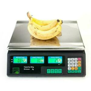 88lb Lcd Digital Weight Scale Price Computing Food Meat Produce Deli Market Us W