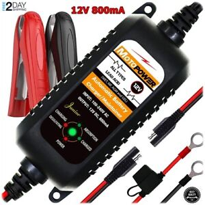 Car Auto Motorcycle Atv Battery Charger Float Trickle Tender Maintainer 12v800ma