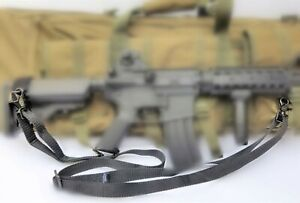 1quot; Wide 2 point Metal Snaps BLACK Sling For Rifle Airsoft with Free Carabiner $10.25