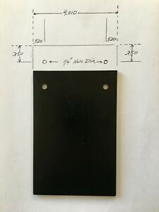 1 8 125 Steel Plate 4 X 6 With Two 1 4 Holes And Black Powder Coated