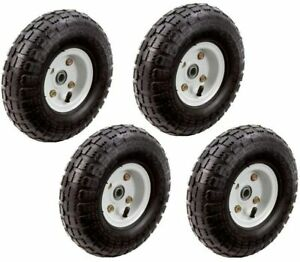 Set Of 4 10 Inch Pneumatic Tires On White Hub Wheel For Hand Truck Dolly Wagon