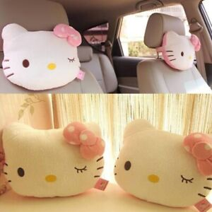 2x Cute Hello Kitty Seat Head Neck Rest Cushion Pillow For Auto Car Vehicle Home