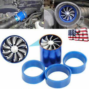 Dual Fan Air Intake Turbonator Turbine Gas Fuel Saver Turbo Supercharger Power