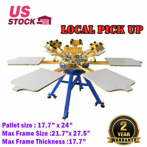 6 Color 6 Station Silk Screen Printing Press T shirt Printer Carousel Machine
