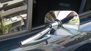 Vintage Style Chrome Oblong Mirrors Classic Musclecar Hotrod Pair New