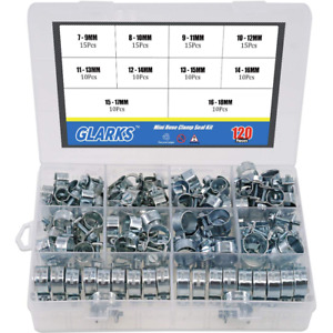 120 Pcs Hose Clamp Assortment Set Sizes 7 18mm Gear Type Assorted Clamps
